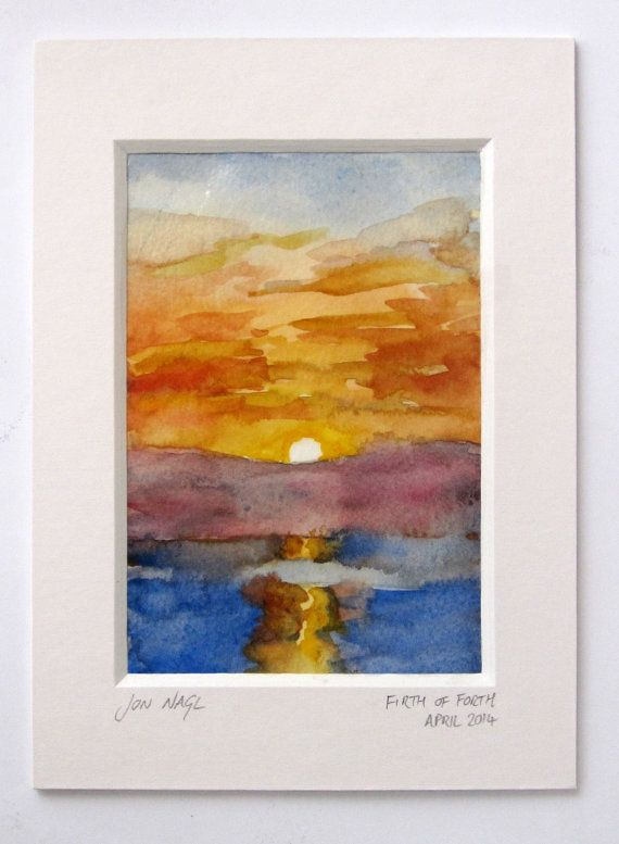 Crossing the Forth, 16 April 2014, original watercolour painting of seascape dawn with window mount on Etsy, £45.00