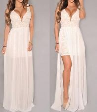 SIZE M-L SEXY Lace WHITE Side Slit Celeb Club Cocktail Party Evening Long Dress