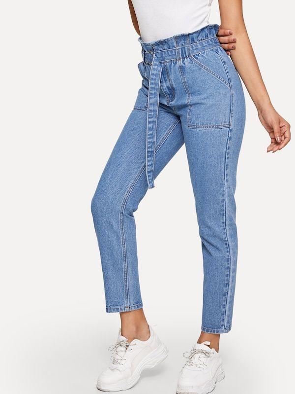 cd798b18af Paperbag Waist Slant Pocket Belted Jeans -SHEIN(SHEINSIDE) | II ...