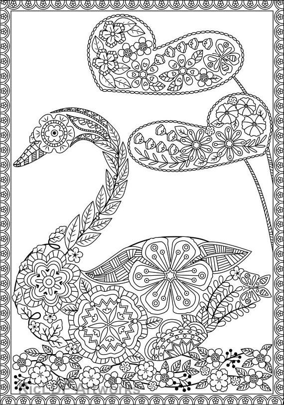 three 3 uniquely shaped coloring pages swan shaped butterfly shaped fish shaped adult coloring pages