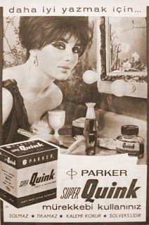 parker süper quink mürekkebi 1964 nostaljik eski reklam.