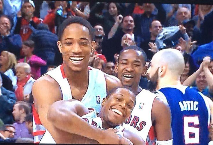 DeMar DeRozan, Kyle Lowry, Terrence Ross. So happy. Toronto Raptors.