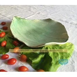 Foglia ceramica smaltata verde, antipasto, happy hours, aperitivo