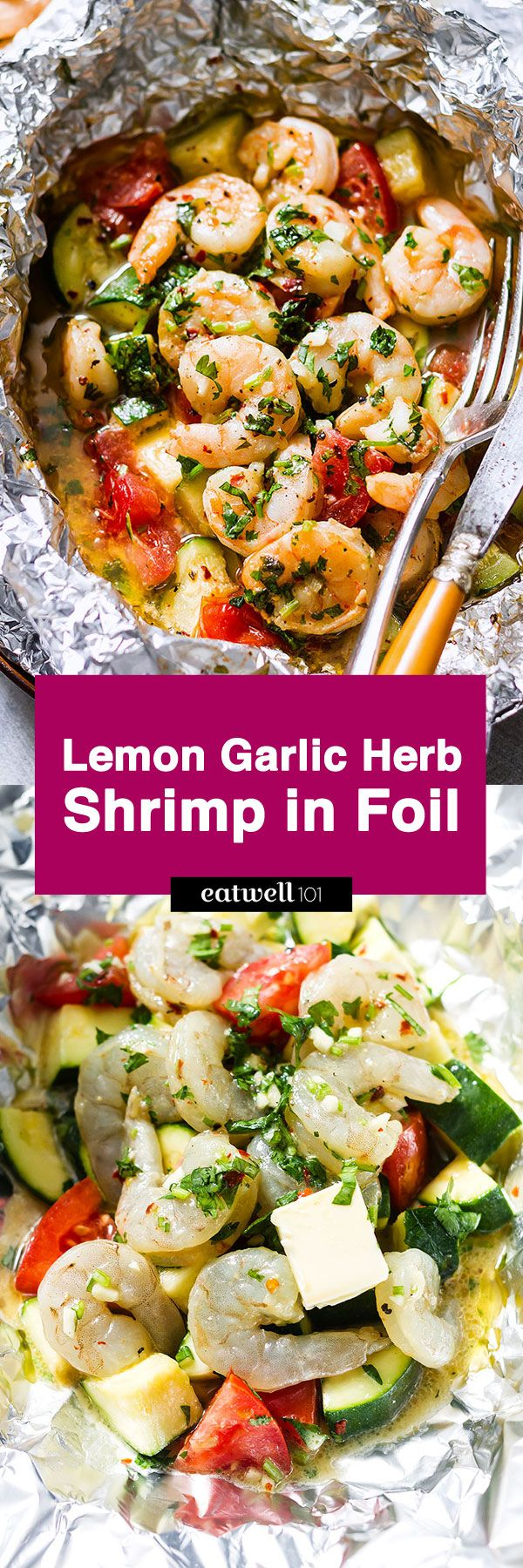 Lemon Garlic Herb Shrimp in Foil Packets: Want to try something new? Enjoy the hearty flavors of a nourishing dinner with these lemon garlic herb shrimp in foil packets. Shrimp with tomato and zucchini are marinated with a herbed lemon gar…