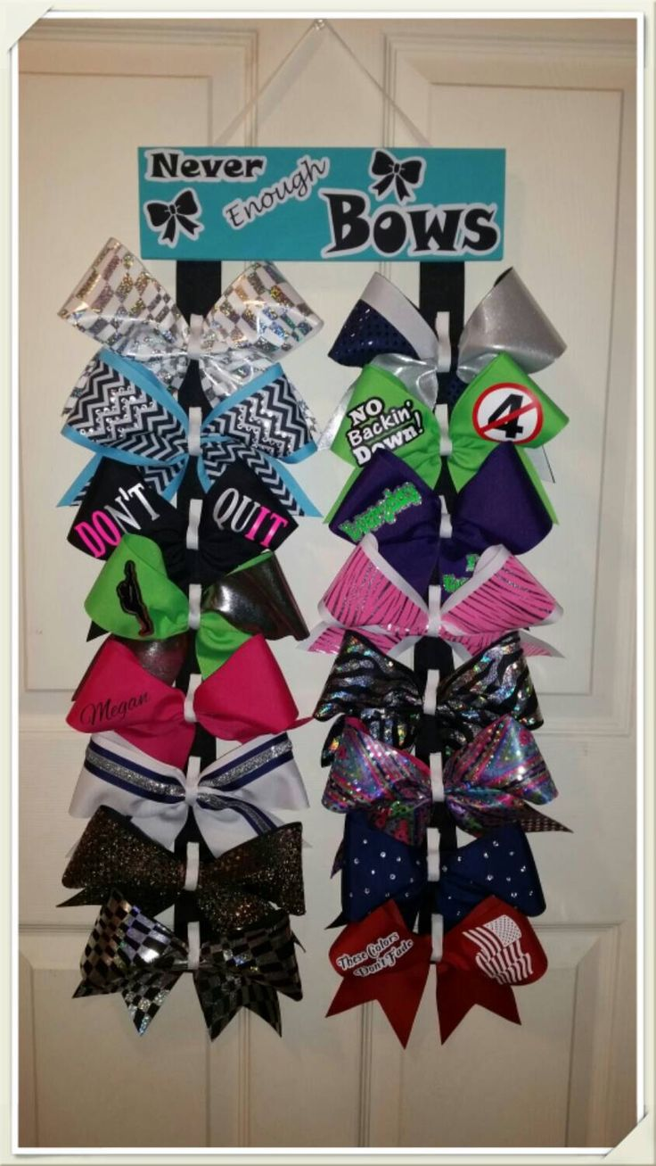 Custom Cheer Bow holder- Never Enough Bows, Choice of COLOR by CurlyNoodleCreations on Etsy https://www.etsy.com/listing/216321785/custom-cheer-bow-holder-never-enough