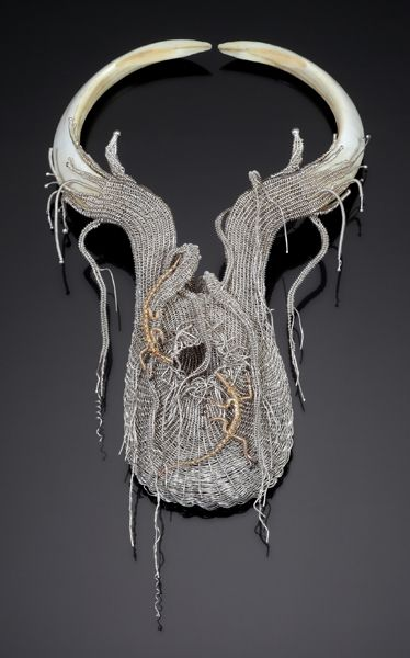 Mary Lee Hu, Neckpiece 8, 1973, fine silver, 12K gold filled wire, boar tusks, 10 x 5.5 x 1.5 inches, Collection of the artist, photo: Doug Yaple