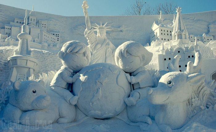 Япония, Саппоро, Фестиваль снежный фигур, Снежный фестиваль, Праздник снега в Саппоро, праздники Японии, фестивали Японии, фестивали ледовой и снежной скульптуры, Международный конкурс скульптур изо льда и снега