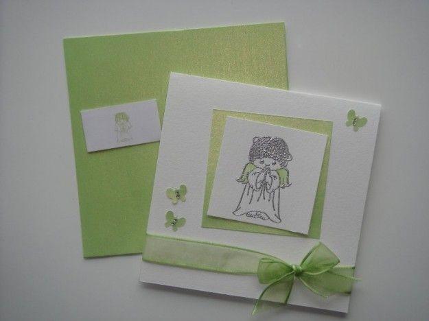 Invito con angioletto - Un invito quadrato con un angioletto disegnato e un fiocco verde