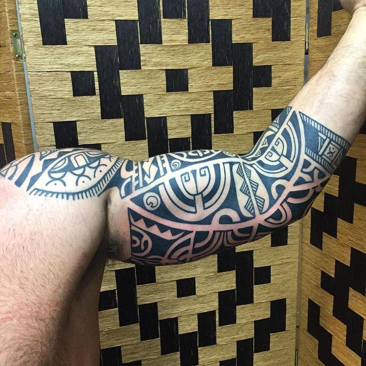 Altins inner arm finished #tribaltattoo #tribaltattoocollective #marquesan #polynesian #blackwork #higginsandcotattoo #marquesantattoosblack #maoritattoossleeve