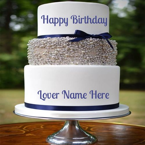 Write Name On Happy Birthday Layered Cake For Lover