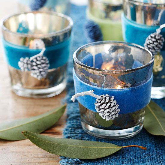 Winter-Theme Votive Candles - such a great diy! love velvet for the holidays. More creative crafts: http://www.bhg.com/christmas/crafts/christmas-holiday-crafts/
