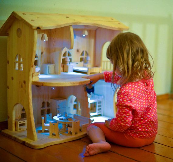 Wooden  dollhouse  *without  furniture*. Christmas gift. Montessori waldorf toys. ,Lighting house. multi-storey house, apartments for toys