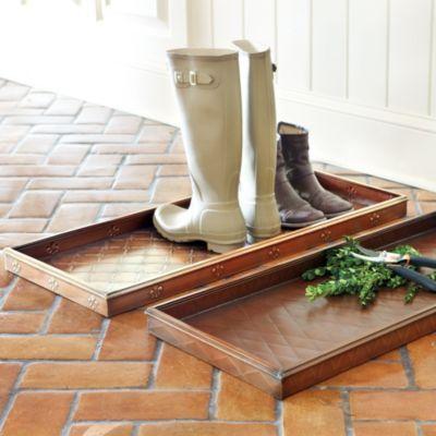 Ballard Designs: Fleur de lis boot tray (also have fleur de lis doormats)