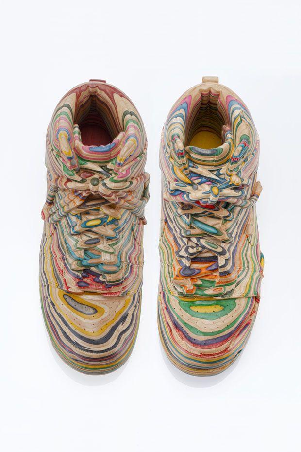 Nike Dunks made from used skateboards by Haroshi (Harvest)