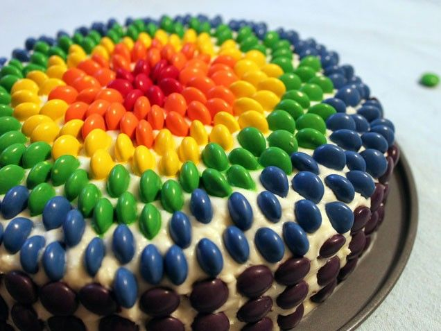 such a big impact for a frosted cake with candies stuck in it!