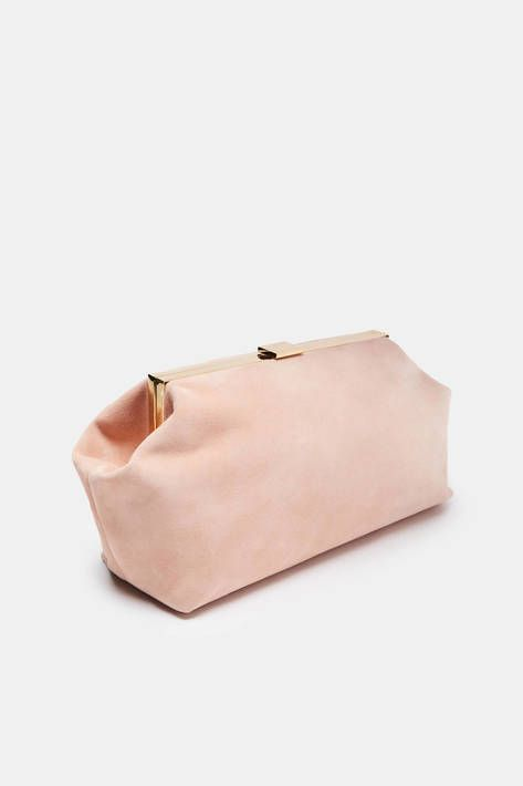 Combining plush Italian suede with the precision of polished gold-toned hardware, this hinged clutch has the clean lines and understated elegance that is synonymous with Mansur Gavriel. The suede-lined interior, with a slip pocket, fits essentials for day or night without getting bent out of shape.