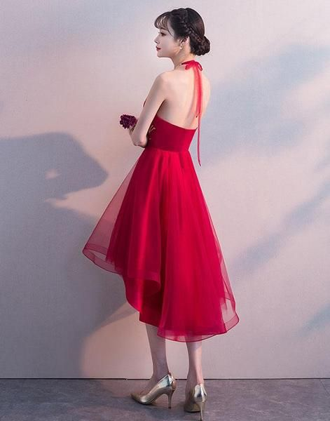 a092abb26e5 Red High Low Halter Stylish Formal Dress