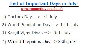 List of Important Days in July - Online Competitive Exams, Aptitude, General Knowledge, Online Exams, Online Test, Quiz, Online G.K.