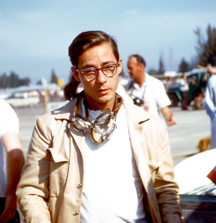Masten Gregory at Sebring, 1960, rocking the double goggles look impeccably . .