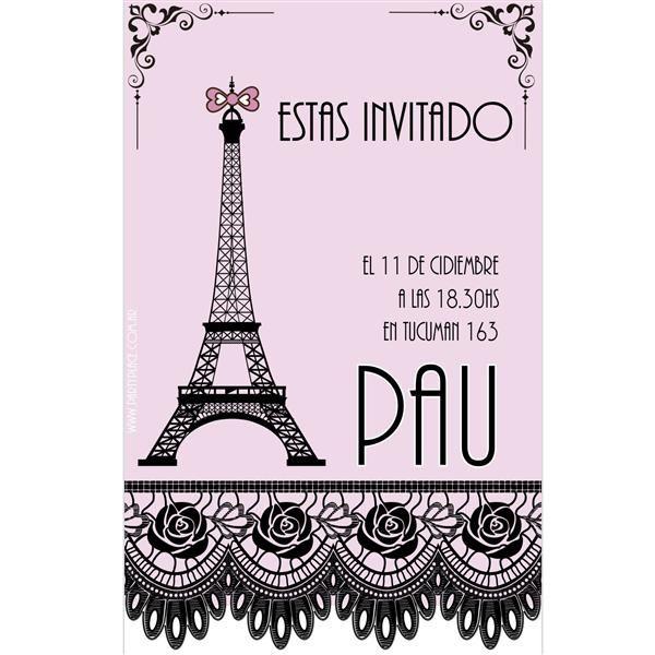 Invitaciones rectangulares Paris. Personalizadas 8u - Decoracion Ambientacion Cotillón Fiestas y Cumpleaños
