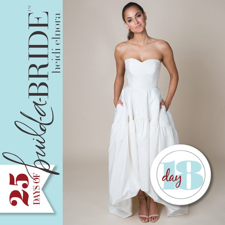 "Be bold and stand out on your special day with the Katrina Arnold, a stunning fashion-forward gown! It's almost Christmas, which means we only have 7 more ""build-a-bride"" looks to feature. It's not too late to nominate your favorite bride! Email info@heidielnora.com for an application."