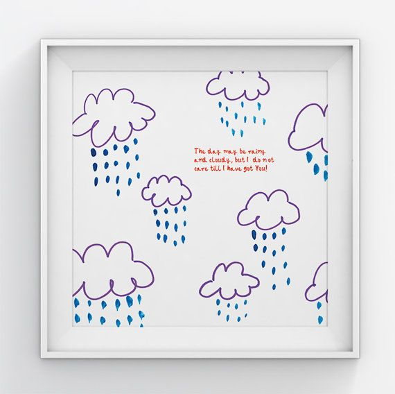 Cloud poster//Wall art//Wall decor//Art for by illustation on Etsy