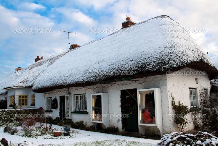 Irish thatched cottages in winter #Ireland