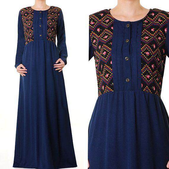Casual Summer Cotton Long Sleeves Abaya Maxi Dress by MissMode21, $26.00