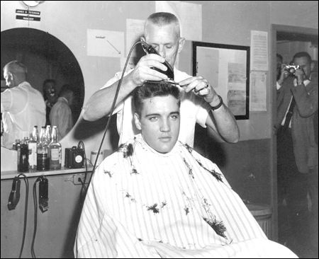 Elvis Presley's army induction immortalized at Chaffee Barbershop Museum. https://elvis-news.com/2018/01/10/elvis-presleys-army-induction-immortalized-at-chaffee-barbershop-museum/