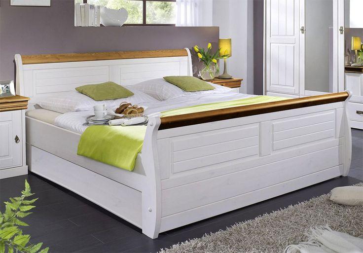 Massiv Holzbett 140x200 Bett Doppelbett Kiefer massiv Holz weiß honig