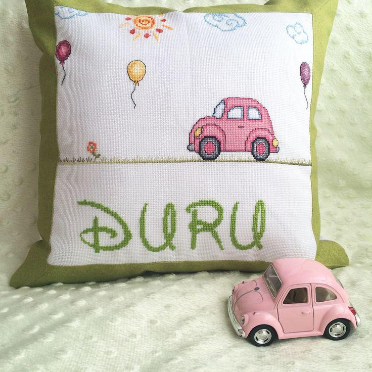 Kanaviçe takı yastığı/ cross stitch baby pillow