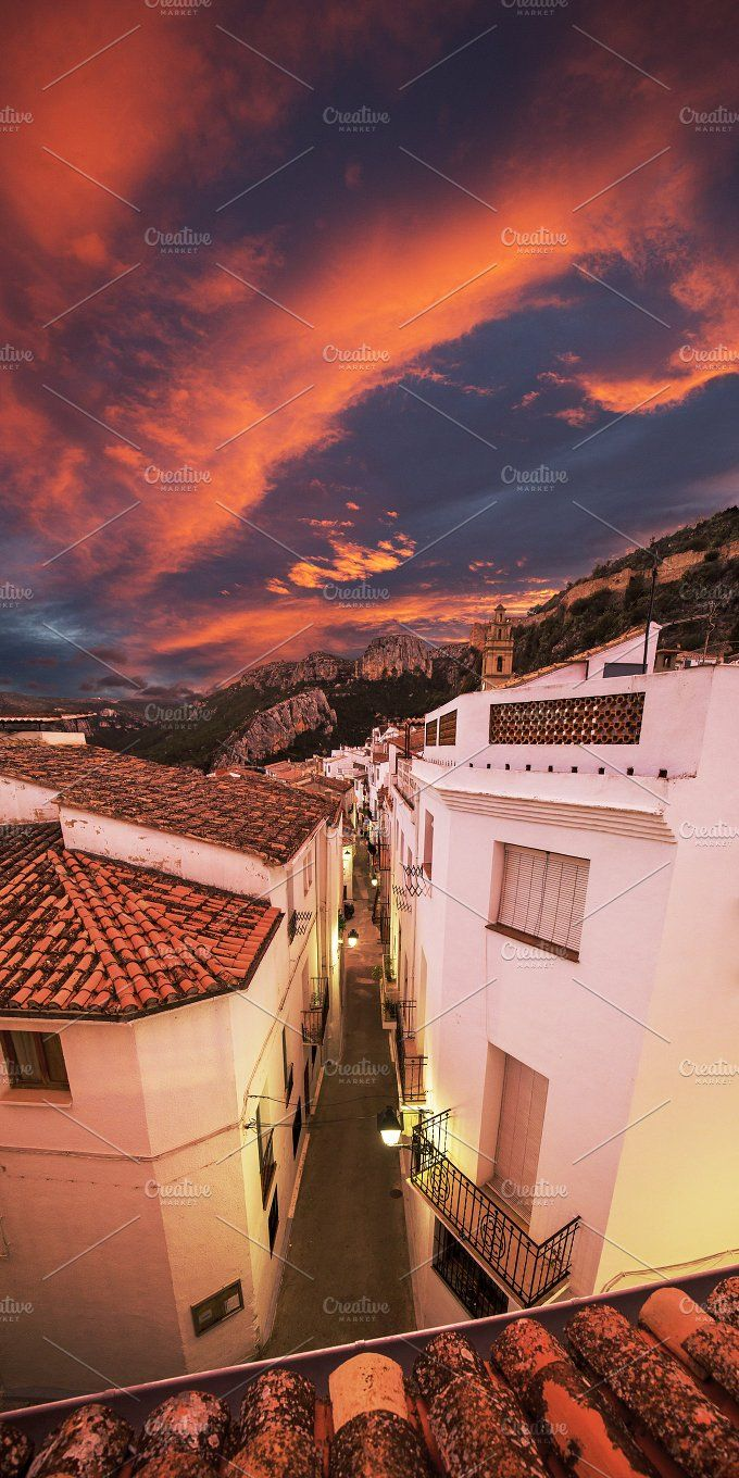 Sunset in Spanish village Chulilla by eVision.pl on @creativemarket