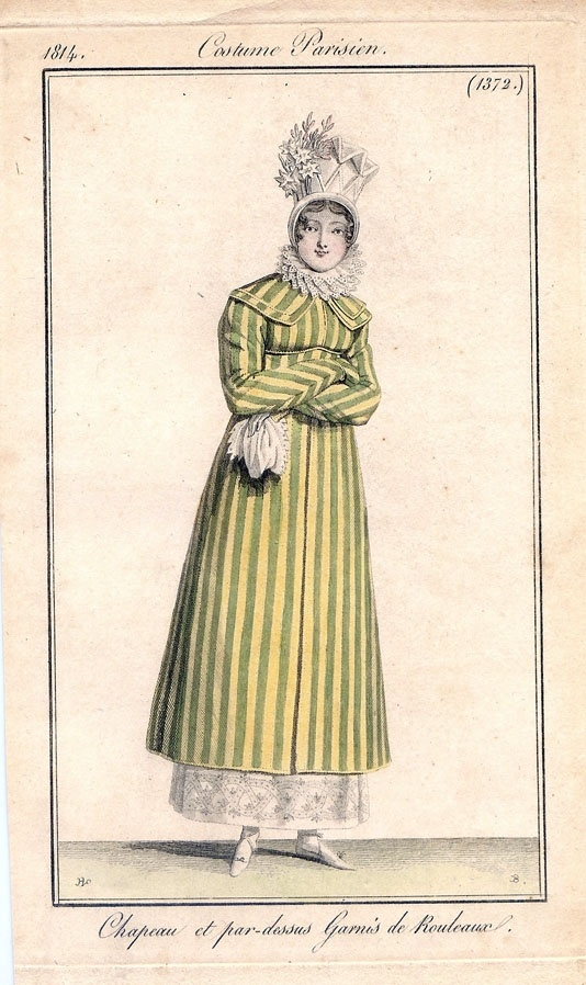 A green and yellow striped pelisse, 1814 costume parisien