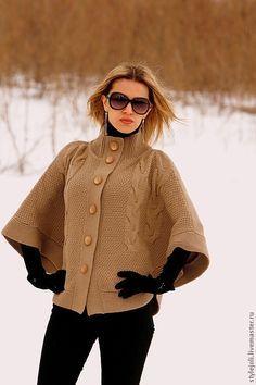 Купить Пончо вязаное Легенда - коричневый, пончо вязаное, пончо, пончо спицами, верхняя одежда