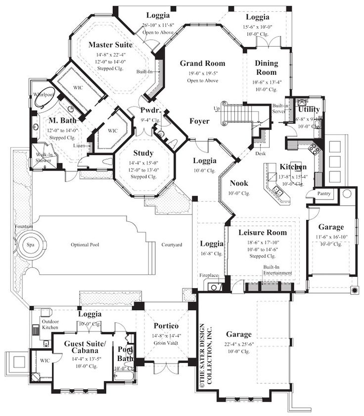 17 best images about courtyard house plans the sater for Sater design house plans