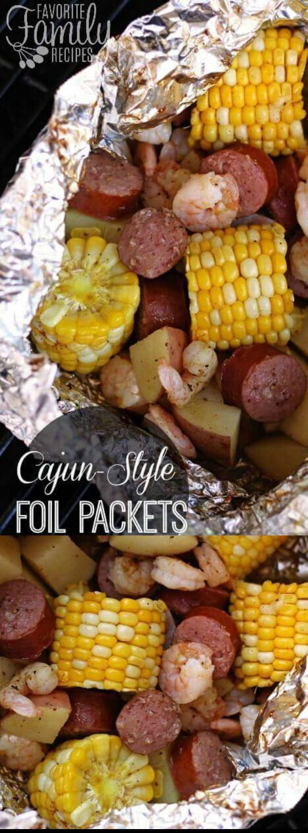 I like this These Cajun Type Grill Foil Packets from Favourite Household Recipes make the perfe...