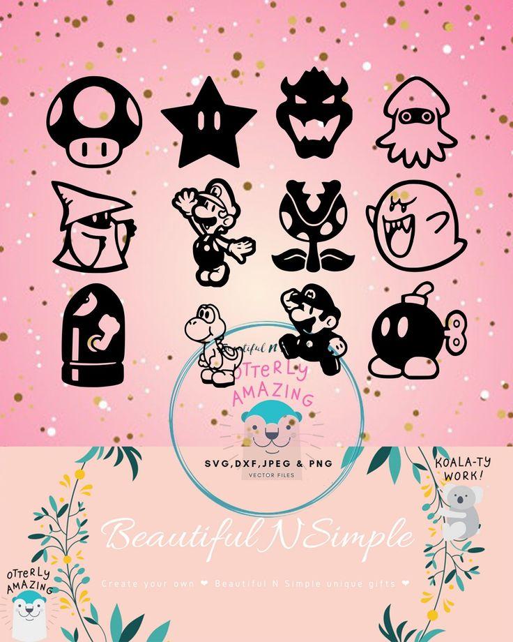 Super Mario Brothers Luigi Yoshi Nintendo SVG DXF File Lot