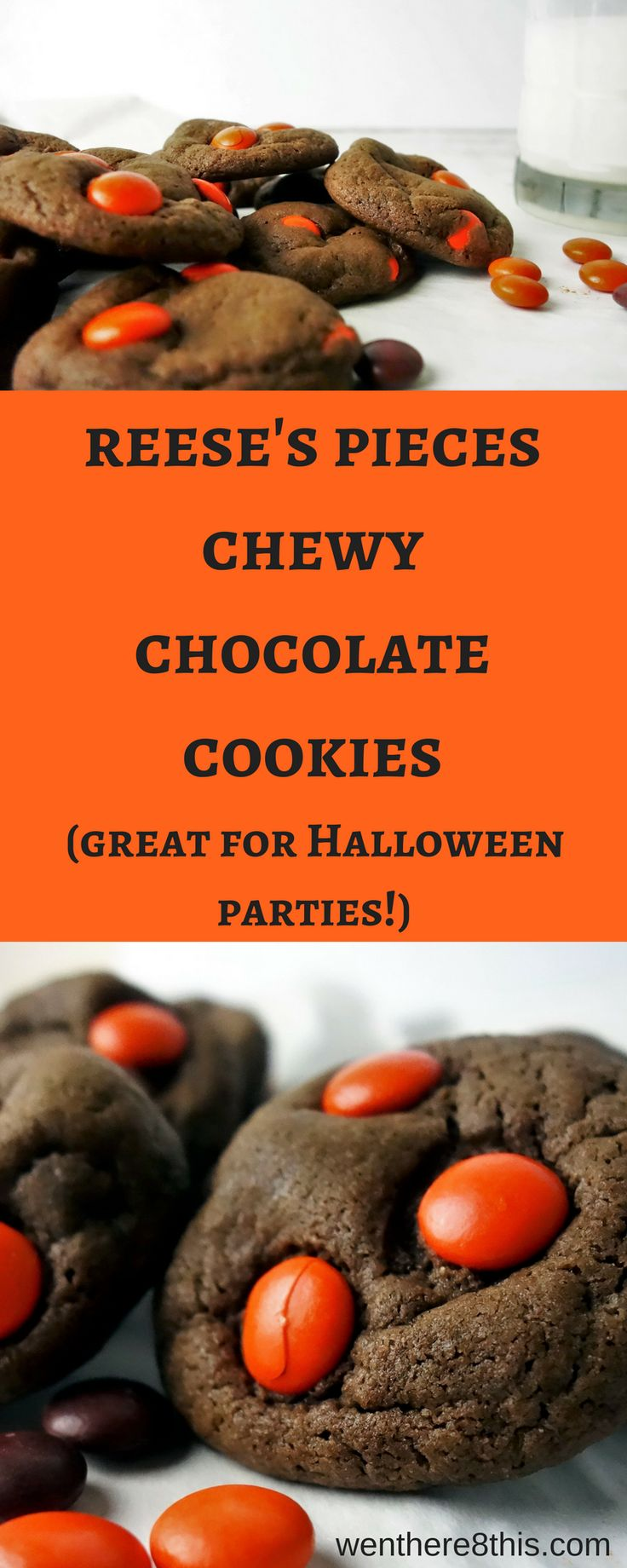 Halloween Themed Reese's Pieces Chewy Chocolate Cookies