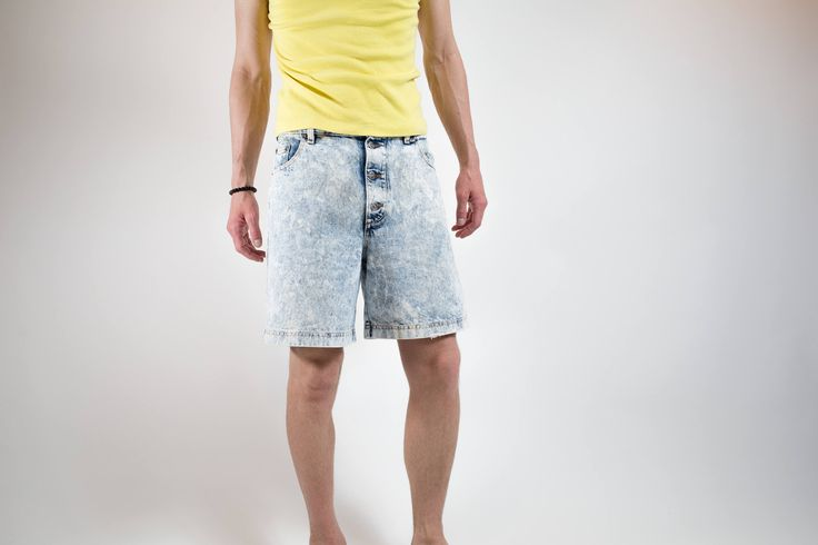 1980's Acid Wash Jean Shorts / Sasson Brand Unisex Bleached Distressed Shorts / Mens 32 Size by PrincipalVintage on Etsy