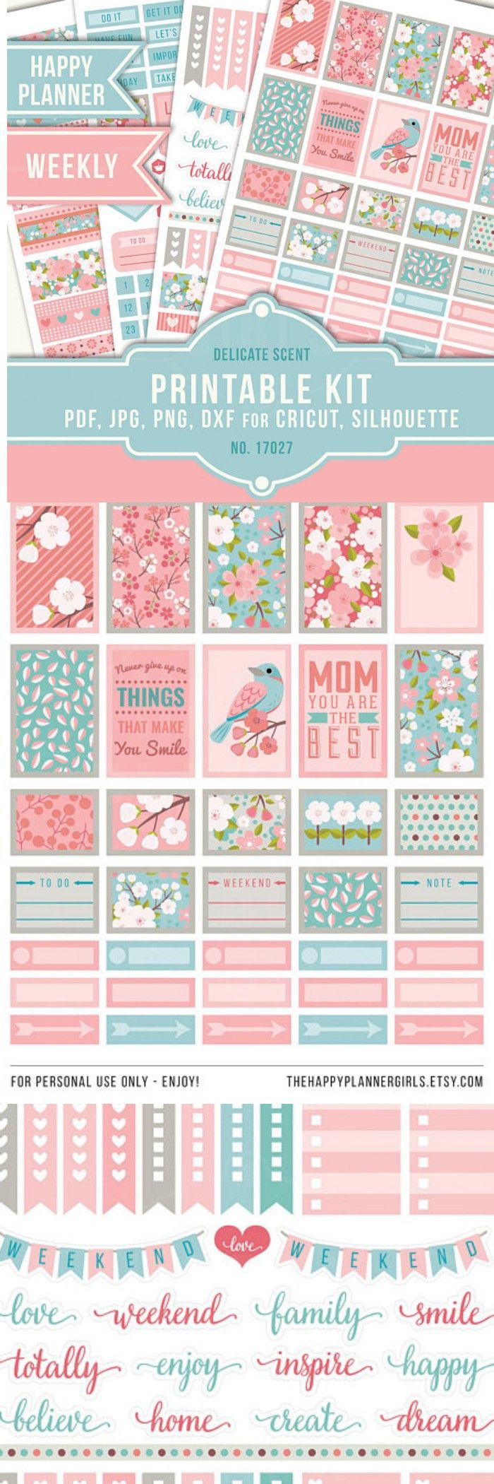 These PRINTABLE planner stickers are perfect for the MAMBI Happy Planner Classic but of course they can be used in other type of planners as well (Filofax, Kikki K, Plum Paper Planner etc.). Printable Planner Stickers, May Weekly Kit, May Planner Stickers, Floral Planner Stickers, Cherry Blossom Planner Stickers #stickers #bulletjournals #ad #printable #hellospring #bujo #happyplanner #cutfiles #etsy