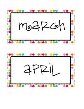 Colorful Polka Dot Calendar Month Labels