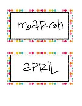 Colorful Polka Dot Calendar Month Labels