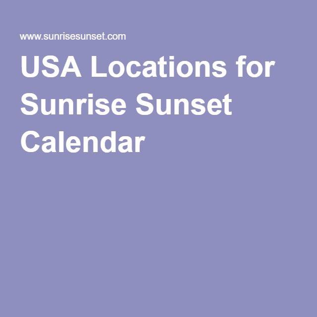 USA Locations for Sunrise Sunset Calendar