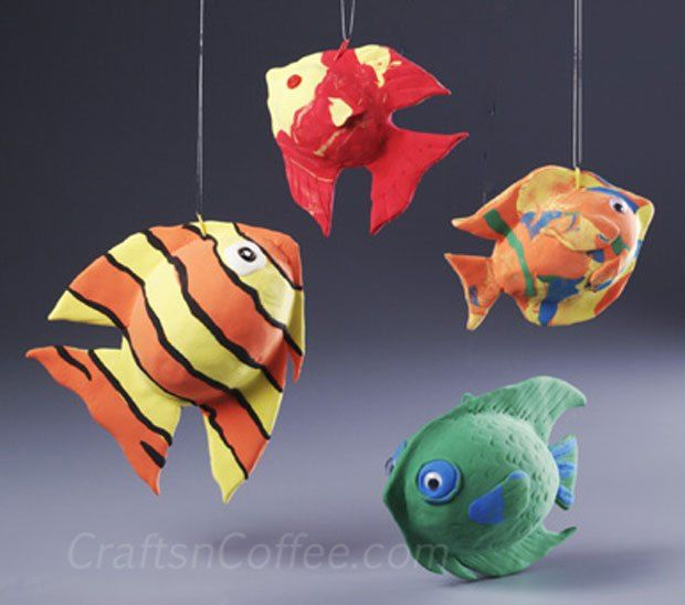 A fun craft for the kids -- making fish with Crayola Model Magic and eggs of STYROFOAM Brand Foam. #KidsCraft