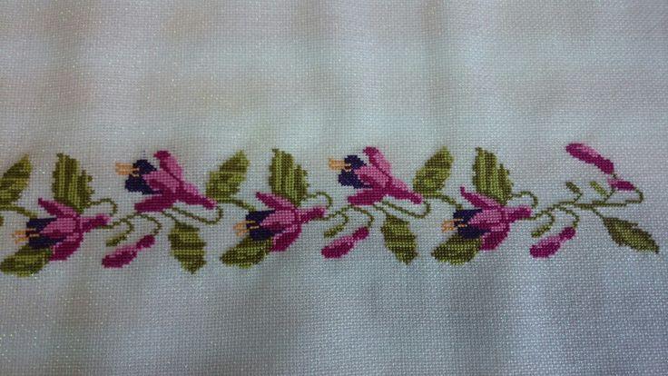 Fuchsia cross embroidery