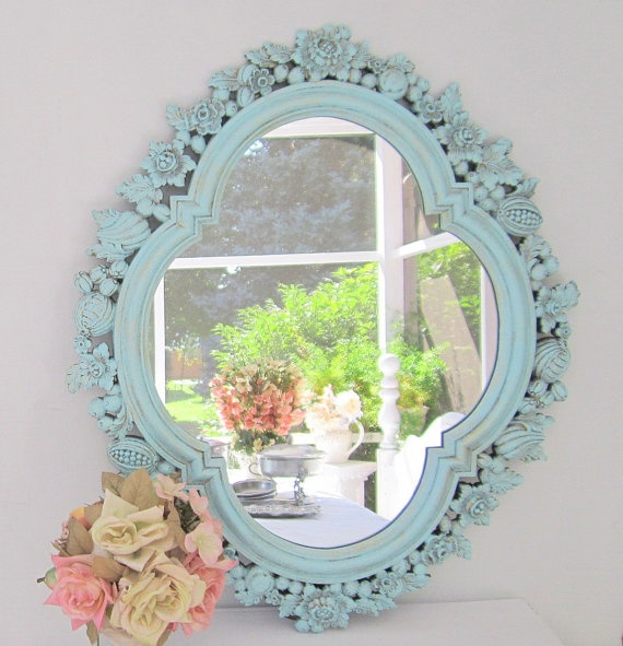 Decorative vintage mirrors for sale french teal green for Large decorative mirrors for sale