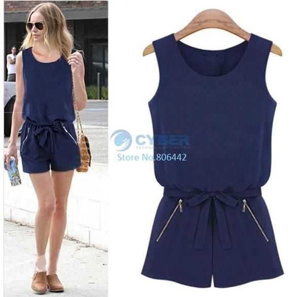2014 European Style Summer Women Sexy Sleeveless Chiffon Loose Overalls Short One Piece Jumpsuit Romper B11 SV004450