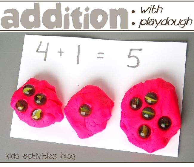 counting with playdough: I'm using this method to teach my 4 year old simple addition. She loves it!