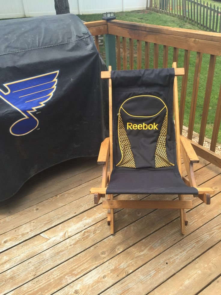 Hockey Bag Collapsible Chair by UpcycleHockey on Etsy https://www.etsy.com/listing/468495251/hockey-bag-collapsible-chair