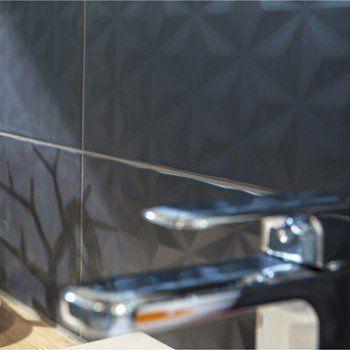 Faïence mur gris zingué n°1, décor loft facette l.20 x L.50.2 cm   Leroy Merlin